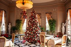 Christmas at Nemours Estate - Side of Culture Stone Mantel, Christmas Tree Decorations, Holiday Decor, Red And White Roses, Oak Panels, Historic Houses, Gilded Age, Grand Staircase, Entry Hall