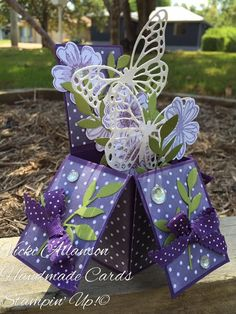 Propels garlore and dazzling diamonds butterflies with a touch iced rhinestones all tied up with pretty bows. Card in a box Gotta love Stampin' Up! Card In A Box, Pop Up Box Cards, 3d Cards, Card Boxes, Easel Cards, Box Cards Tutorial, Card Tutorials, Fancy Fold Cards, Folded Cards