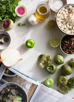 Roasted Green Tomatillo Pozole with Chicken - A Cozy Kitchen Tomatillo Recipes, Roasted Tomatillo, Green Pozole, Food Art, A Food, Watermelon Radish, Mexican Dishes, Roasted Vegetables, Soups And Stews