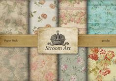 Aged Shabby Chic Roses paper digital collage sheet by StroomArt, $4.39