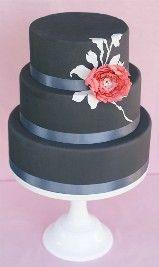Charcoal and coral wedding cake beautiful!!