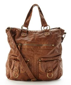 Look at this T-Shirt & Jeans Cognac Slouchy Satchel on #zulily today!