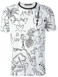 Dolce & Gabbana camiseta con estampado tropical musical