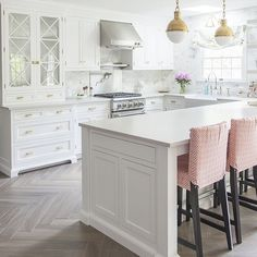 Herringbone Kitchen Flooring White with Brass