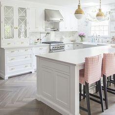 Herringbone Kitchen Flooring White with Brass