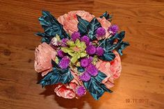 [Anmalip-handmade ] Bouquet of Natural Immortal Flowers and Flowers Made and Hand-Painted from Textile (Orange) Chromotherapy, Living Off The Land, Silk Flowers, Mother Nature, Destination Wedding, Bouquet, Textiles, Hand Painted, Corsages
