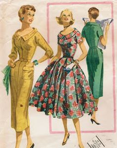 "You all know the iconic dresses of the 1950s and early 1960s known as the ""New Look"" - the dresses with a snug bodice and a full skirt or a slim skirt"