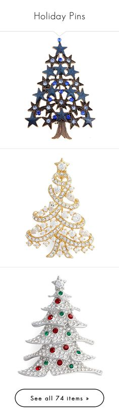 """""""Holiday Pins"""" by selene-cinzia ❤ liked on Polyvore featuring jewelry, brooches, brooch, brown, christmas tree jewelry, clear crystal jewelry, crystal jewelry, star brooch, safety pin jewelry and natale"""