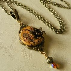 Image of Steampunk Exquisite Gold Rose Clockwork Necklace