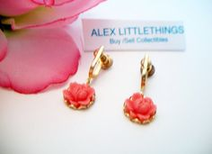Vintage Coral Carved Rose Screw Back Earrings Dangle Drop Flower Jewelry Fashion Accessories For Her Unique Vintage, Vintage Items, Rose Jewelry, Screw Back Earrings, Holiday Sales, Invitations, Invite, Earrings Handmade, Belly Button Rings