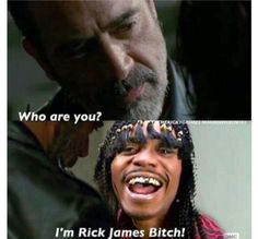 There is a new Rick in town!I'm RIck James Bitch! Walking Dad Jokes, The Walking Dad, Walking Dead Funny, Tbt Instagram, Rick James, Dead Inside, Stuff And Thangs, Best Shows Ever, Favorite Tv Shows