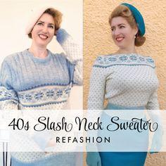 Slash-neck Sweater Refashion - New Day New Diy! Diy Clothing, Sewing Clothes, Refashioning Clothes, Diy Clothes Refashion, Recycled Clothing, Recycled Fashion, Vintage Outfits, Diy Kleidung, Sweater Refashion