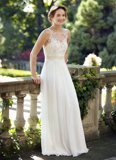Illusion Neck Sleeveless Lace Bodice A-line Chiffon Wedding Dress with Ribbon