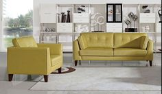 Stylish Design Furniture - DS Napa Fabric Pale Gold Sofa