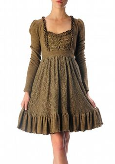 A Sweet long sleeve knit tunic dress with ruffle trim and lace layered design is a modern take on ladylike luxe