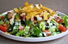 what's for dinner?: BBQ chicken salad with cilantro lime ranch... 30 minutes