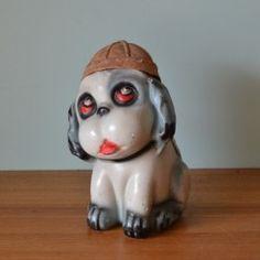 Vintage ceramic dog figure figurine chalkware