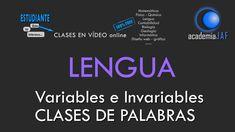Clases de palabras: variables e invariables - Lengua Española análisis m...