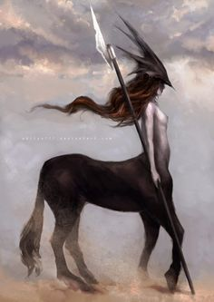 Maybe a silhouette of a centaur for A's Sagittarius painting