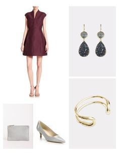 Stunning wine-colored fit-and-flare dress takes the classic and the feminine to the next level