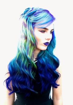 Tie dye hair art curled