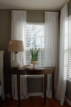 white blinds long white drapes for bedroom