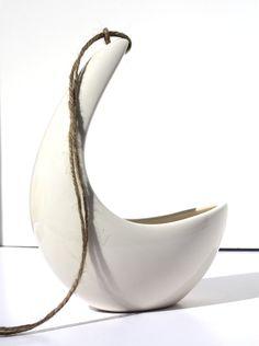 Hanging Planter for Potted Plants, Vintage Design, Natural White Ceramic