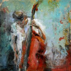 "Fernanda Cataldo; Wood, Mixed Media ""Double Bass"""