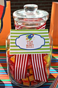 A Planet Birthday Party! To say my boys are fascinated by our solar system wo. A Planet Birthday Nasa Party, Starburst Candy, Space Baby Shower, Alien Party, Outer Space Party, Moon Party, First Birthday Parties, 7th Birthday, Birthday Ideas