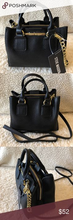 """NWT! STEVE MADDEN BLACK SATCHEL/XBODY BAG BRAND NEW! AUTHENTIC STEVE MADDEN BLACK SATCHEL/XBODY BAG-Approximate measurements are 7 1/2"""" W X 7"""" H X 4 1/2"""" D, with a detachable cross body strap with an approximate 24"""" drop, & a handle drop of 4""""....Gold tone hardware.... Steve Madden Bags Satchels"""