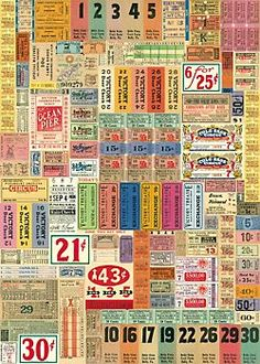 """""""Cavallini Vintage Tickets Wrapping Paper - 'bout time someone else saw the beauty in old price tags! :D"""" Ticket wrapping paper - another cool idea. Journal Inspiration, Journal Ideas, Vintage Images, Vintage Posters, Paper Source, Gift Wrapping Paper, Wrapping Papers, Papers Co, Bookbinding"""