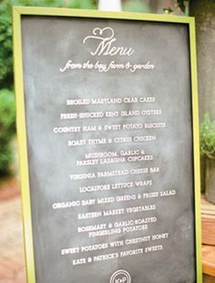 Hand-lettered menu designed by Simplesong Design for Ritzy Bee Events  Photo: Kate Headley Photography