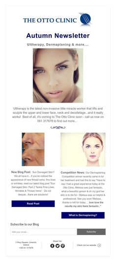 Autumn Newsletter Ultherapy, Dermaplaning & more. Facials, Clinic, Sculpting, How To Find Out, It Works, Things To Come, Autumn, Face, Sculpture