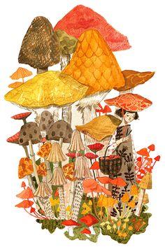 The mushroom gatherers, by Abigail Halpin.