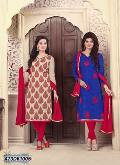 Marvelous Blue and Cream Coloured Brasso Cotton and Chanderi Silk Salwar Suit