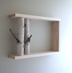 white birch forest wall art/shelf - 18x12, birch branch,  framed birch art, floating shelves, display shelves, shadow box by urbanplusforest on Etsy https://www.etsy.com/au/listing/89177492/white-birch-forest-wall-artshelf-18x12