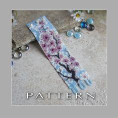 Peyote Beading Pattern : Cherry Blossom Bracelet Cuff - Instant Download