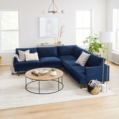 Haven Loft 3-Piece L-Shaped Sectional Blue And Grey Living Room, Blue Couch Living Room, Living Room Sofa Design, Living Room Sectional, Home Living Room, Living Room Designs, Living Room Decor, West Elm Sectional, L Shaped Living Room
