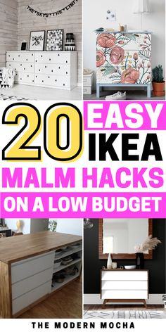 Looking for a way to hack your IKEA Malm? Check out these IKEA MALM hacks including the nightstands, classic dresser, bed, desk and more. Add the MALM overlays and stickers on top for a beautiful finish! Save this for more IKEA hacks, storage ideas, and DIY inspiration for your home furniture and storage solutions. #ikeahacks #ikea #malmhacks #malm #ikeamalm Ikea Dresser Hack, Dresser Bed, Nightstands, Diy Furniture Projects, Home Furniture, Classic Dressers, Storage Solutions, Storage Ideas, Ikea Hacks