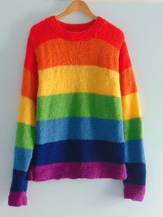Hand knitted rainbow jumper sweater by EmilyJaneCelesteBird on Etsy