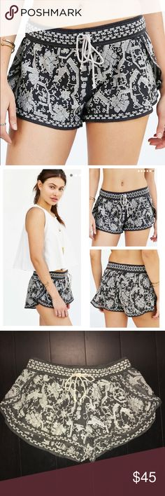 Urban Outfitters Embroidered Shorts Dark grey shorts with white embroidery. Brand is Ecote, bought last year from Urban Outfitters. Super comfy with elastic waistband and front tie. Fully lined. Urban Outfitters Shorts