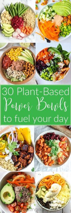 Stuck in a dinner rut or looking for inspiration for next week's menu planning? I've got you covered with 30 plant-based power bowl recipes that are nutrient-rich to fuel you through even your busiest days. Lunch Recipes, Diet Recipes, Vegetarian Recipes, Healthy Recipes, Vegetarian Italian, Vegetarian Lunch, Delicious Recipes, Breakfast Recipes, Lunch Meals