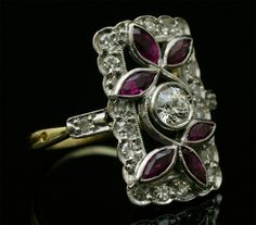 Art Deco rubis and diamond ring. アールデコ ダイヤモンド リング