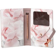 Ted Baker Travel Document Holder & Pen - Thistle (€56) ❤ liked on Polyvore featuring home, home decor, office accessories, accessories, bags, fillers, things, pink, travel document holder and pink pens