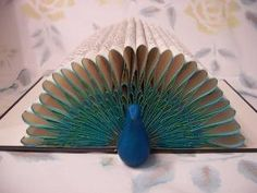 Peacock Folded Pages Book Art -- Origami Sculpture from Recycled/Repurposed/Upcycled Book -- SALE by lakeisha
