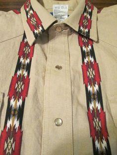 WRANGLER Western Pearl Snap Shirt Rodeo Cowboy Native Southwest Navajo Aztec XL #Western