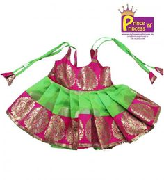 BUY New Born Trendy & Traditional Frock @ www.princenprincess.in . These frock are cute and nice outfit for kids cradle and naming ceremony. Lining cloth inside to protect baby skin.
