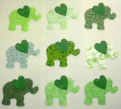 9 Easy to Use Green Elephant Iron On Fabric Appliques. $9.94, via Etsy.