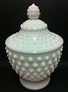 Vintage Hobnail Milk Glass Apothecary Jar  Candy by ActionPink