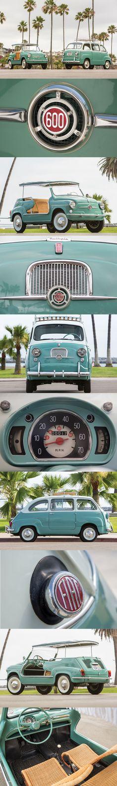 1957 Fiat 600 Multipla / 1961 Fiat 600 Jolly / mint green white / Italy / MPV / beach car